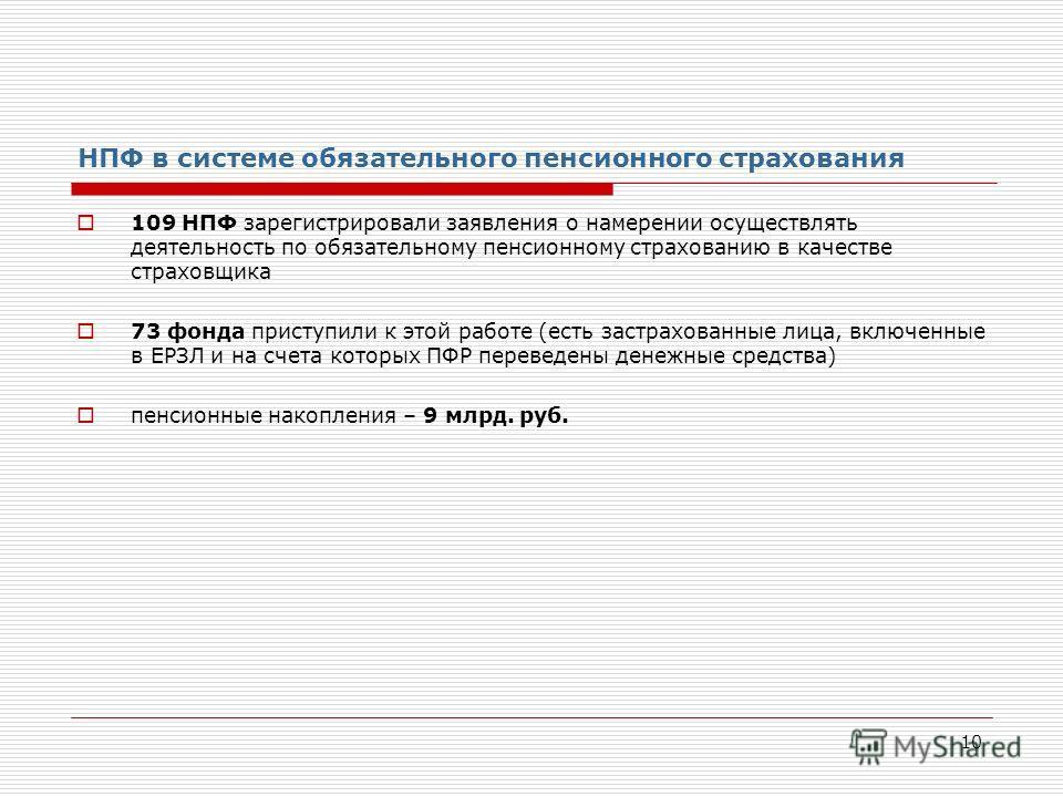 10 НПФ в системе обязательного пенсионного страхования 109 НПФ зарегистрировали заявления о намерении осуществлять деятельность по обязательному пенсионному страхованию в качестве страховщика 73 фонда приступили к этой работе (есть застрахованные лиц