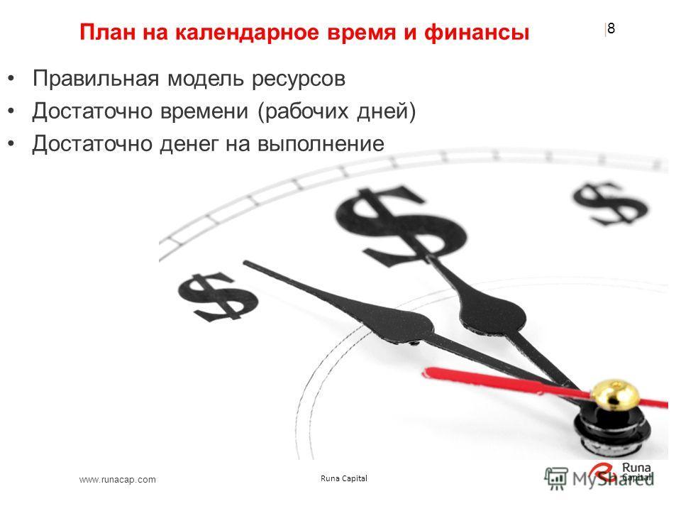 www.runacap.com Runa Capital План на календарное время и финансы Правильная модель ресурсов Достаточно времени (рабочих дней) Достаточно денег на выполнение |8|8