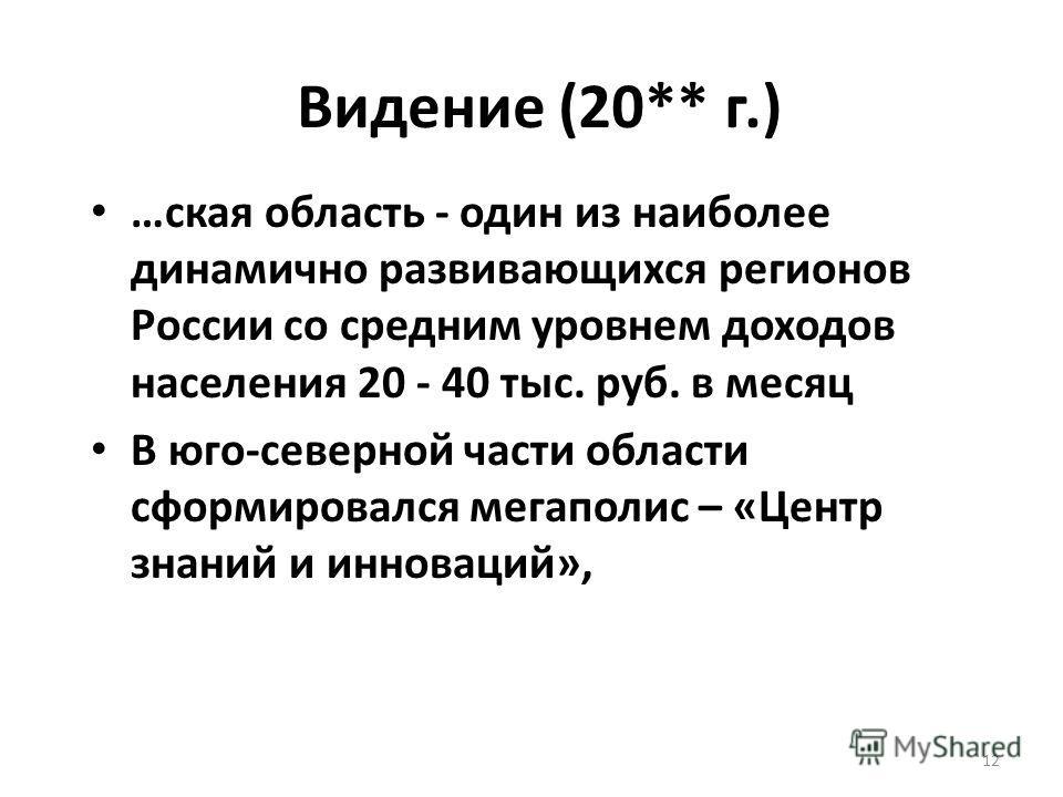 12 Видение (20** г.) …ская область - один из наиболее динамично развивающихся регионов России со средним уровнем доходов населения 20 - 40 тыс. руб. в месяц В юго-северной части области сформировался мегаполис – «Центр знаний и инноваций»,