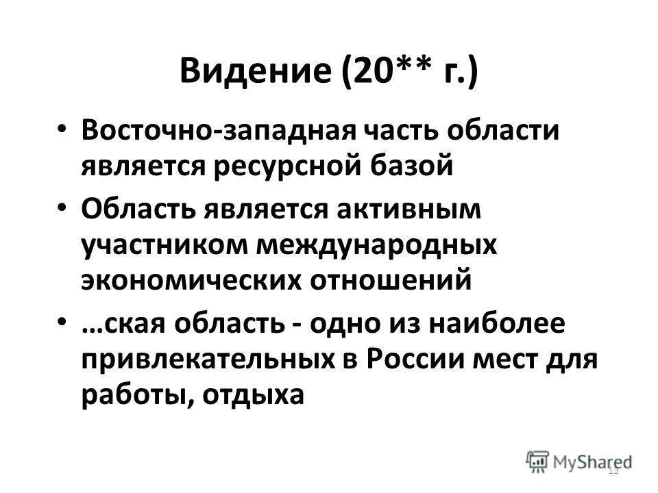 13 Видение (20** г.) Восточно-западная часть области является ресурсной базой Область является активным участником международных экономических отношений …ская область - одно из наиболее привлекательных в России мест для работы, отдыха