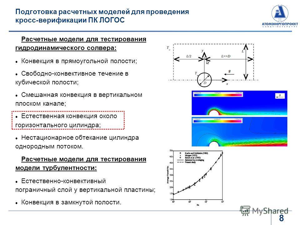Подготовка расчетных моделей для проведения кросс-верификации ПК ЛОГОС Расчетные модели для тестирования гидродинамического солвера: Конвекция в прямоугольной полости; Свободно-конвективное течение в кубической полости; Смешанная конвекция в вертикал