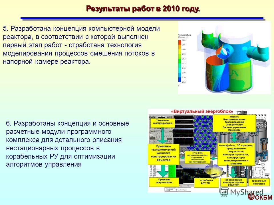 ОКБМ 5. Разработана концепция компьютерной модели реактора, в соответствии с которой выполнен первый этап работ - отработана технология моделирования процессов смешения потоков в напорной камере реактора. 6. Разработаны концепция и основные расчетные