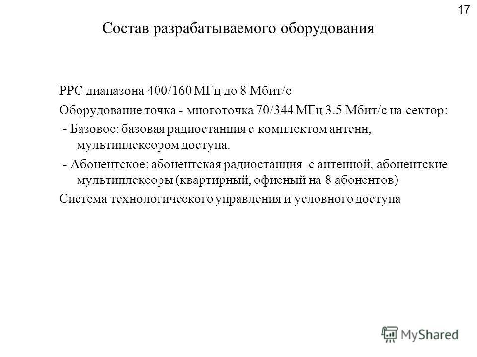 Состав разрабатываемого оборудования РРС диапазона 400/160 МГц до 8 Мбит/с Оборудование точка - многоточка 70/344 МГц 3.5 Мбит/с на сектор: - Базовое: базовая радиостанция с комплектом антенн, мультиплексором доступа. - Абонентское: абонентская радио