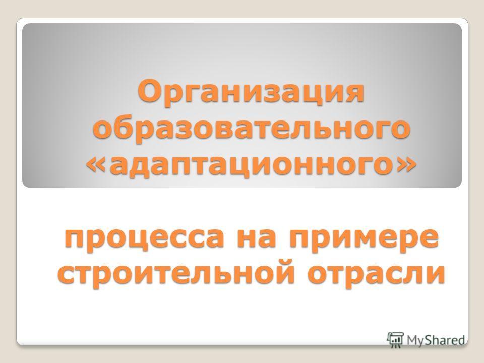 Организация образовательного «адаптационного» процесса на примере строительной отрасли