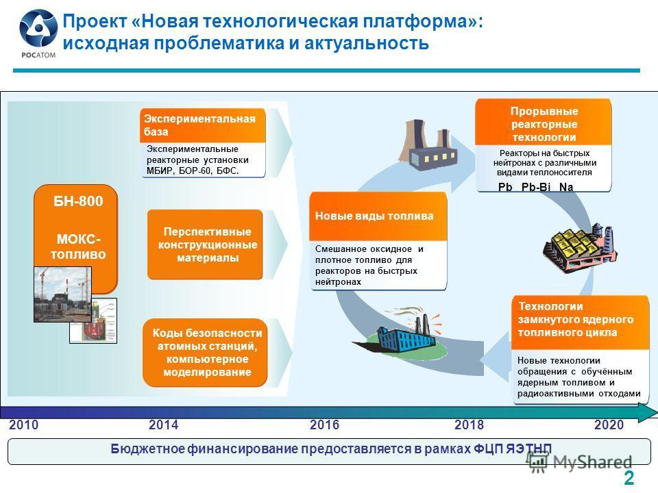 Проект «Новая технологическая платформа»: исходная проблематика и актуальность Есть у Н.А. Ильиной Бюджетное финансирование предоставляется в рамках ФЦП ЯЭТНП Новые виды топлива Смешанное оксидное и плотное топливо для реакторов на быстрых нейтронах