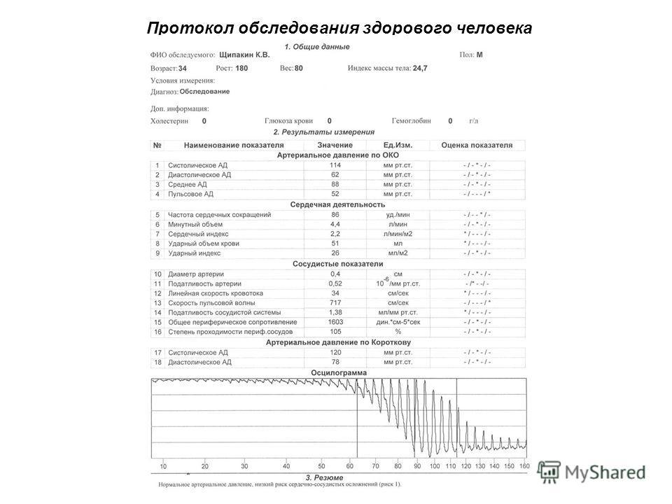 Протокол обследования здорового человека