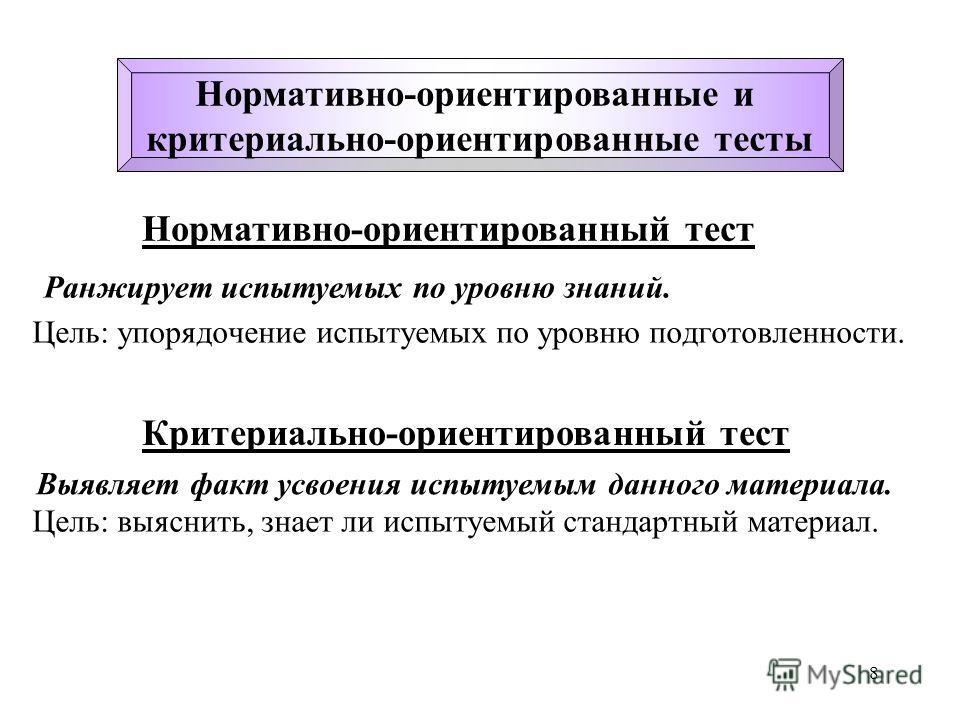 8 Цель: упорядочение испытуемых по уровню подготовленности. Нормативно-ориентированные и критериально-ориентированные тесты Ранжирует испытуемых по уровню знаний. Нормативно-ориентированный тест Критериально-ориентированный тест Цель: выяснить, знает