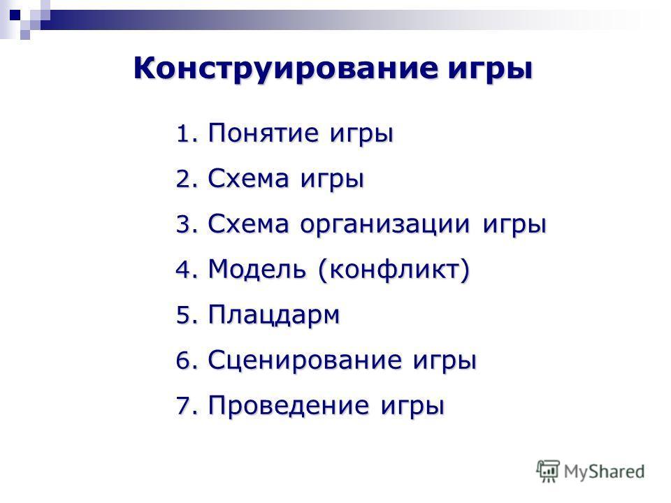 Конструирование игры 1. Понятие игры 2. Схема игры 3. Схема организации игры 4. Модель (конфликт) 5. Плацдарм 6. Сценирование игры 7. Проведение игры