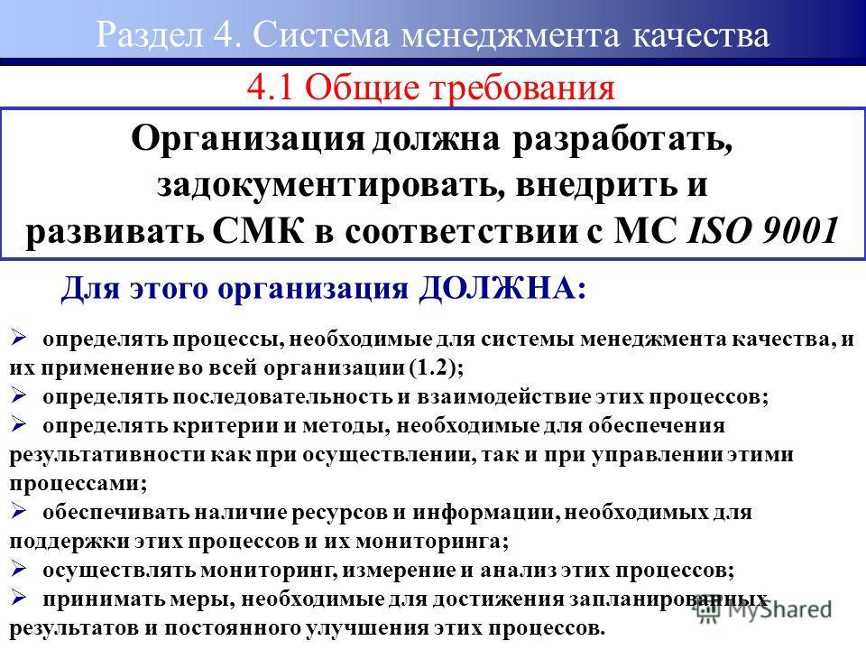 4.1 Общие требования Организация должна разработать, задокументировать, внедрить и развивать СМК в соответствии с МС ISO 9001 Для этого организация ДОЛЖНА: определять процессы, необходимые для системы менеджмента качества, и их применение во всей орг