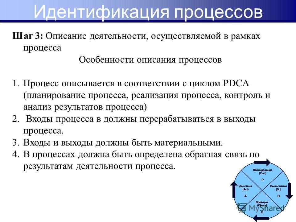 Шаг 3: Описание деятельности, осуществляемой в рамках процесса Особенности описания процессов 1.Процесс описывается в соответствии с циклом PDCA (планирование процесса, реализация процесса, контроль и анализ результатов процесса) 2. Входы процесса в