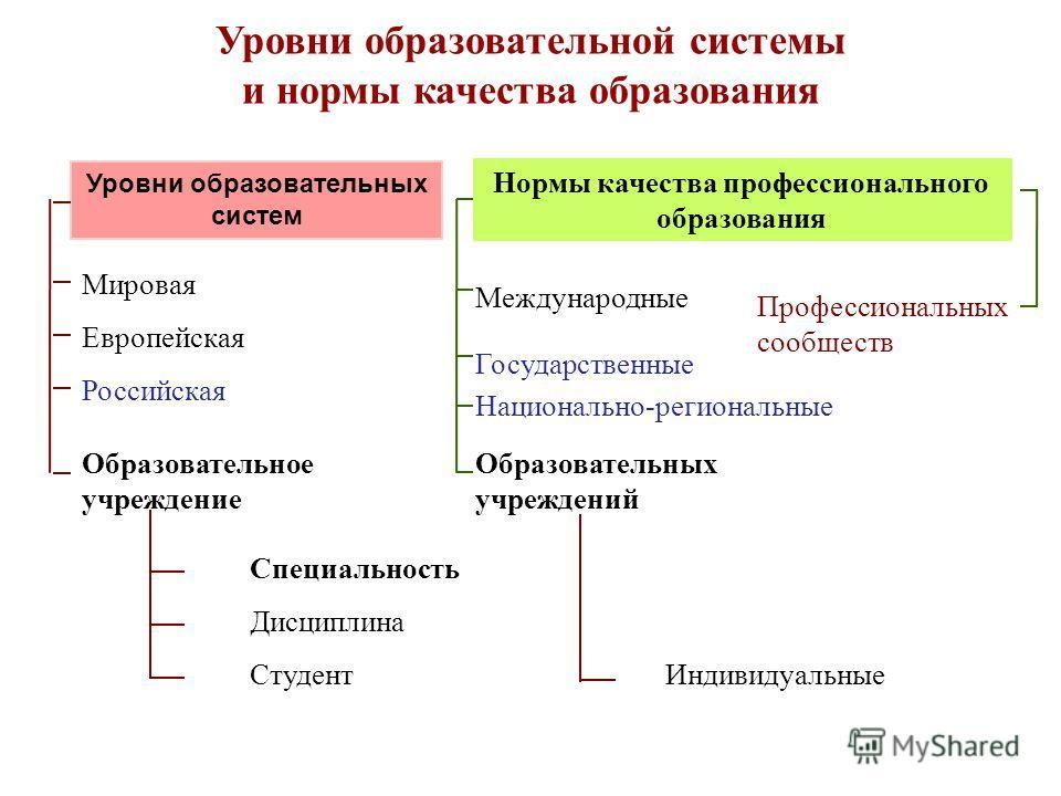 Уровни образовательной системы и нормы качества образования Уровни образовательных систем Студент Мировая Европейская Российская Образовательное учреждение Специальность Дисциплина Нормы качества профессионального образования Международные Государств