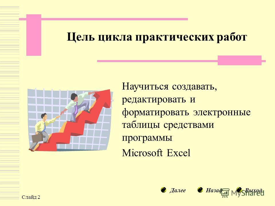 Слайд 2 Цель цикла практических работ Научиться создавать, редактировать и форматировать электронные таблицы средствами программы Microsoft Excel НазадДалееВыход