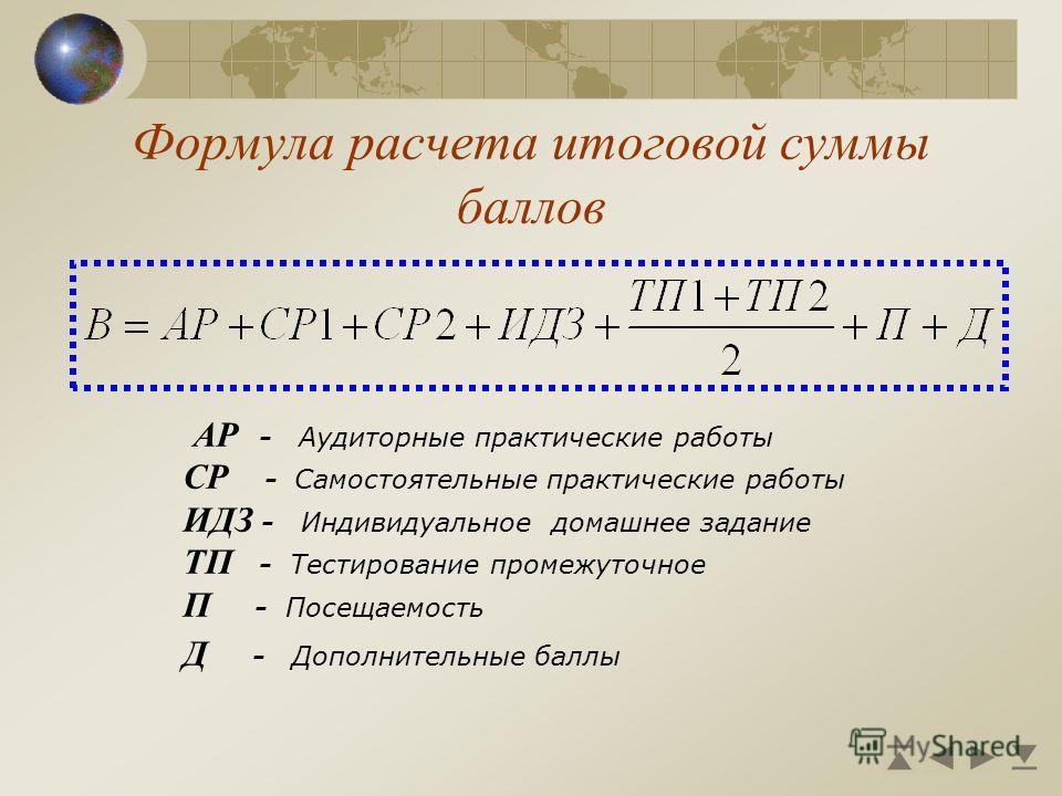 Формула расчета итоговой суммы баллов АР - Аудиторные практические работы СР - Самостоятельные практические работы ИДЗ - Индивидуальное домашнее задание ТП - Тестирование промежуточное П - Посещаемость Д - Дополнительные баллы