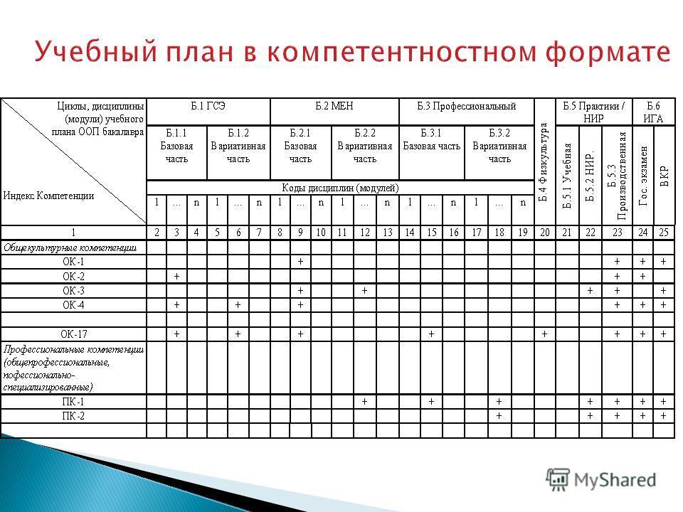 Учебный план в компетентностном формате