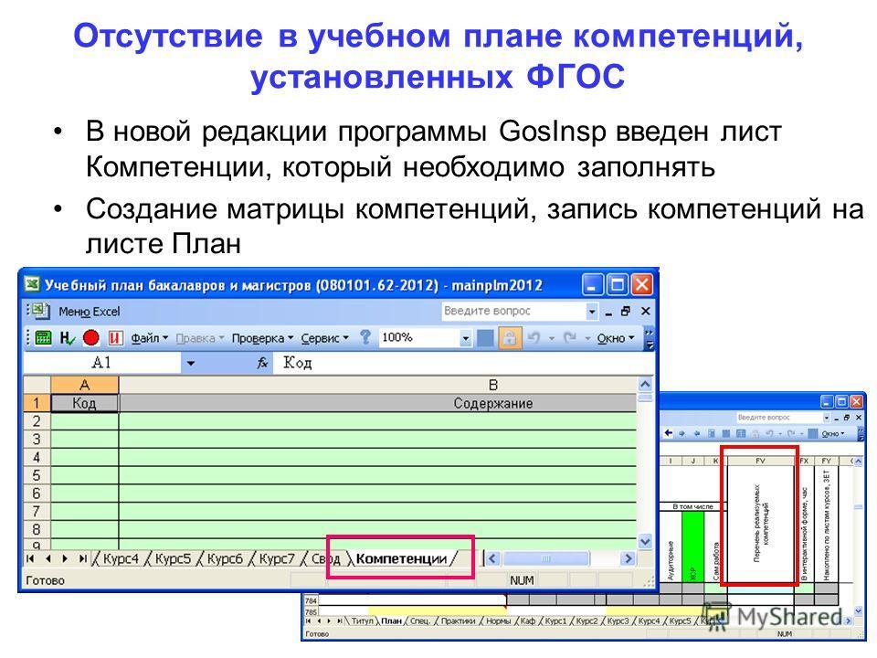Отсутствие в учебном плане компетенций, установленных ФГОС В новой редакции программы GosInsp введен лист Компетенции, который необходимо заполнять Создание матрицы компетенций, запись компетенций на листе План