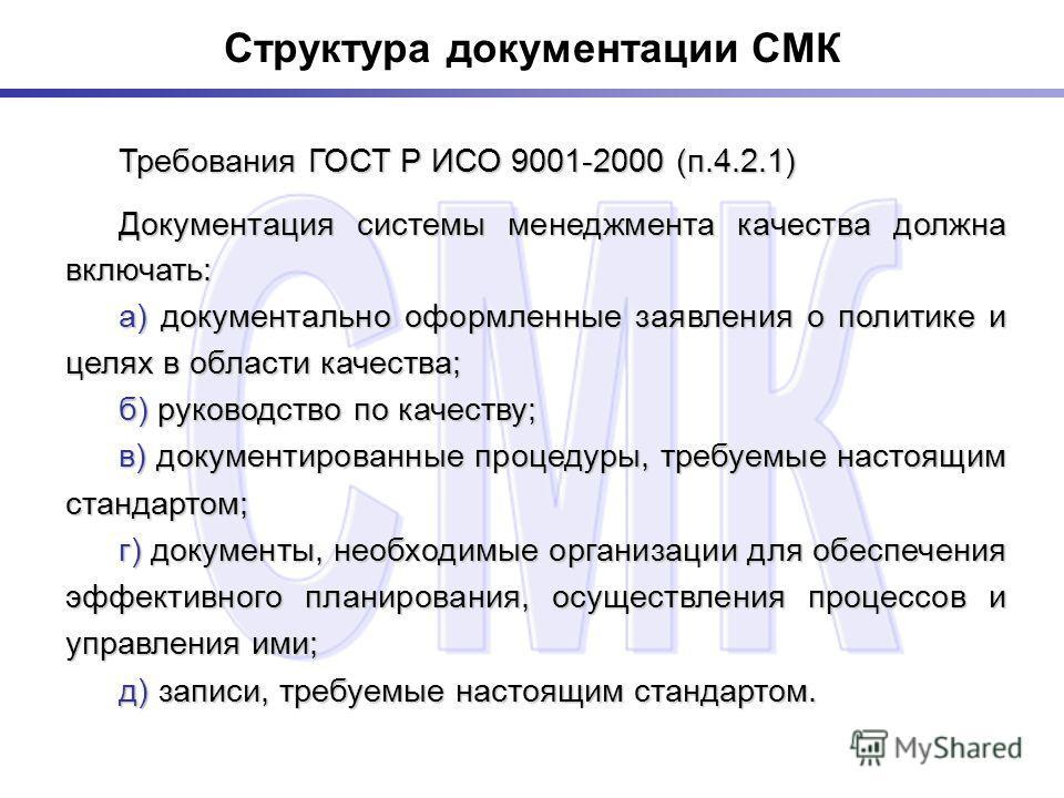 Структура документации СМК Требования ГОСТ Р ИСО 9001-2000 (п.4.2.1) Требования ГОСТ Р ИСО 9001-2000 (п.4.2.1) Документация системы менеджмента качества должна включать: Документация системы менеджмента качества должна включать: а) документально офор