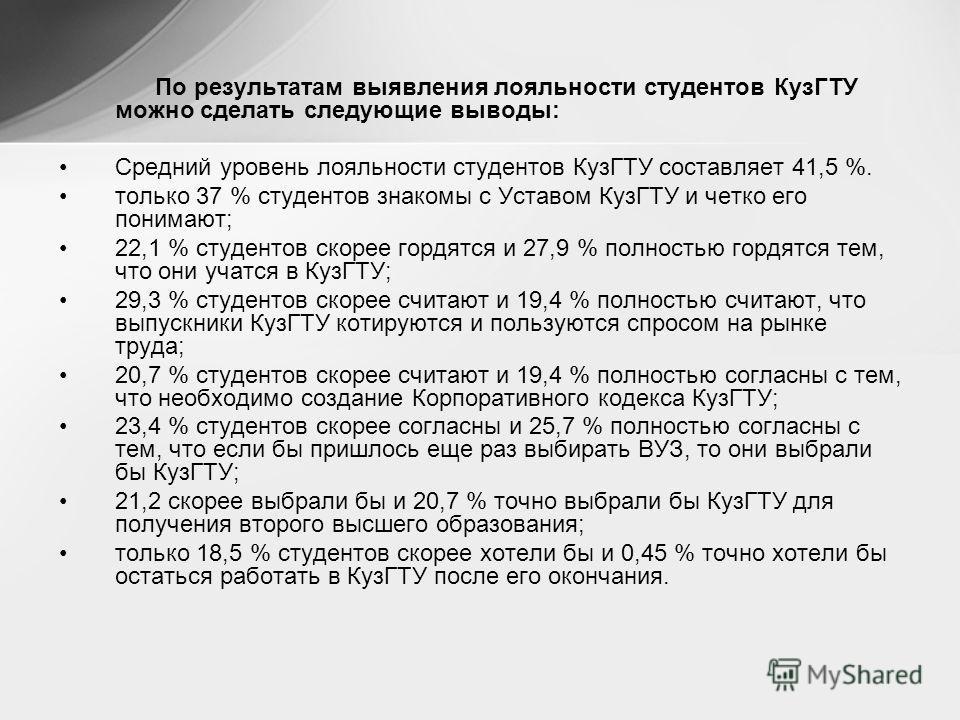 По результатам выявления лояльности студентов КузГТУ можно сделать следующие выводы: Средний уровень лояльности студентов КузГТУ составляет 41,5 %. только 37 % студентов знакомы с Уставом КузГТУ и четко его понимают; 22,1 % студентов скорее гордятся