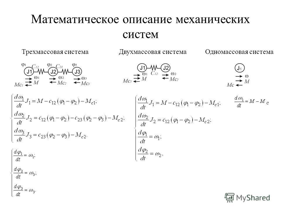 Математическое описание механических систем Трехмассовая системаДвухмассовая системаОдномассовая система
