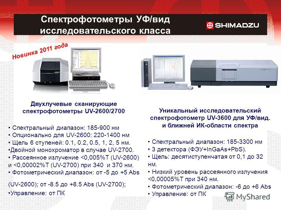 Спектрофотометры УФ/вид исследовательского класса Уникальный исследовательский спектрофотометр UV-3600 для УФ/вид. и ближней ИК-области спектра Спектральный диапазон: 185-3300 нм 3 детектора (ФЭУ+InGaAs+PbS). Щель: десятиступенчатая от 0,1 до 32 нм.