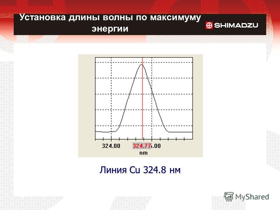 Линия Cu 324.8 нм Установка длины волны по максимуму энергии