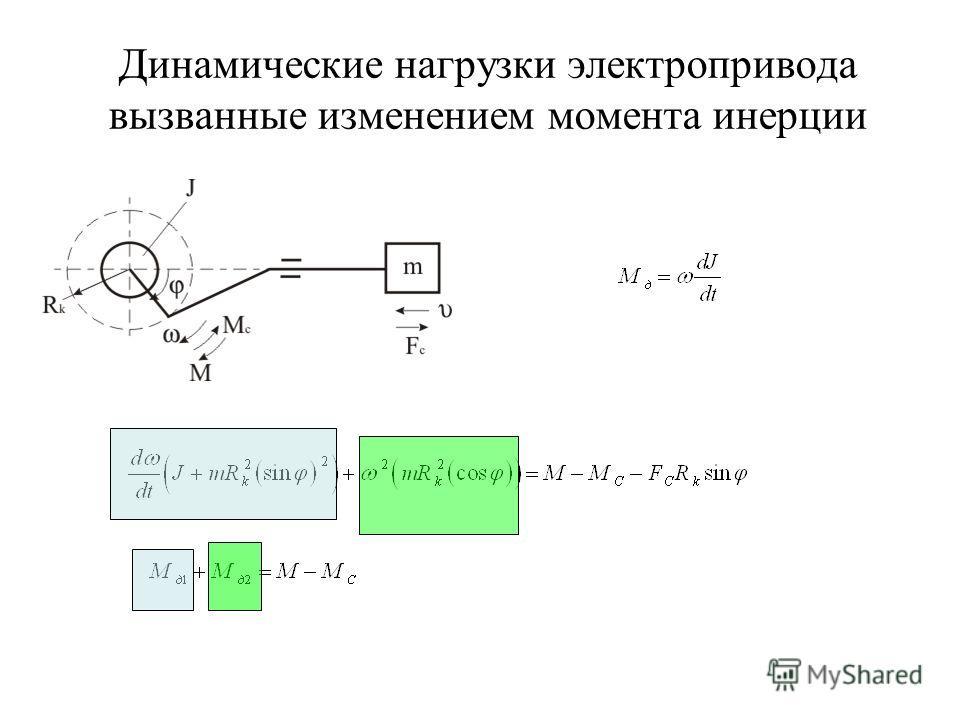 Динамические нагрузки электропривода вызванные изменением момента инерции