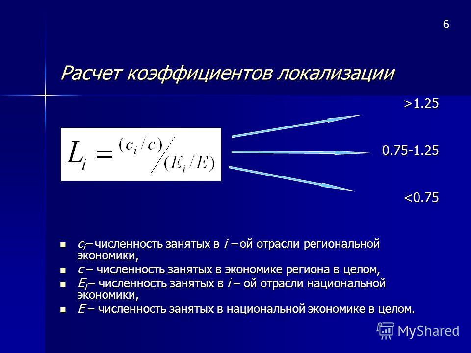 Расчет коэффициентов локализации >1.250.75-1.25