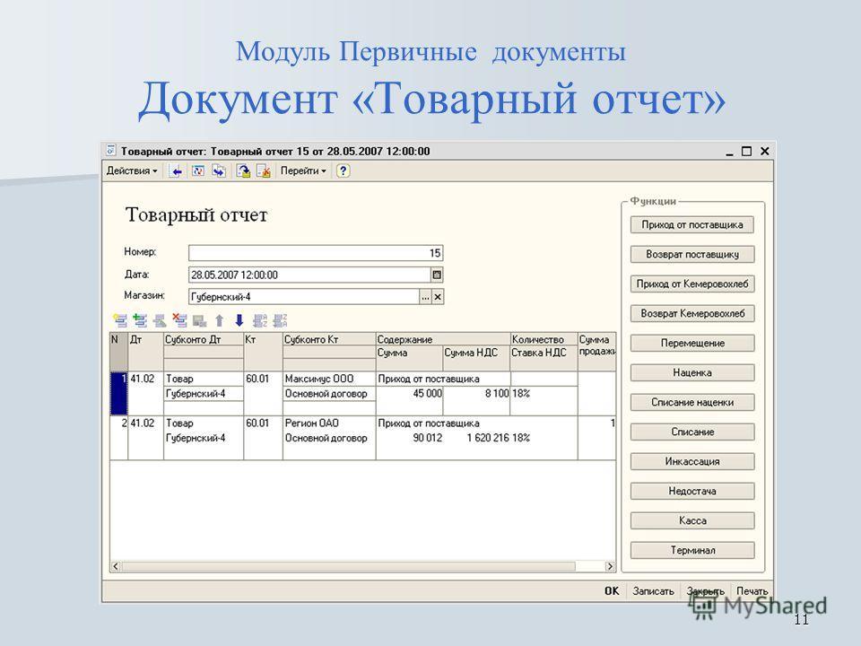 11 Модуль Первичные документы Документ «Товарный отчет»