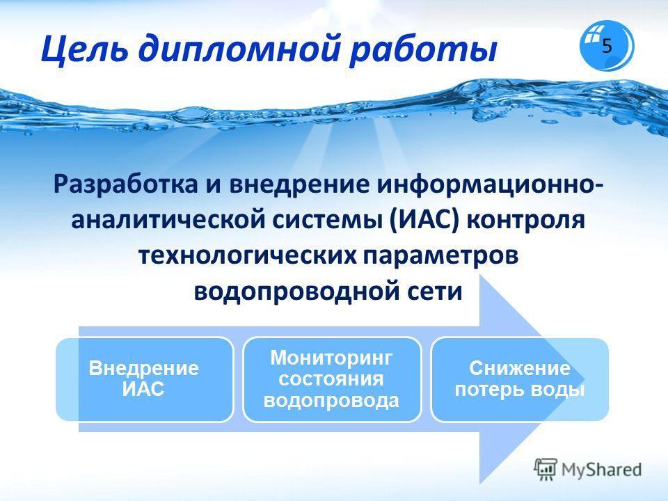 Цель дипломной работы 5 Разработка и внедрение информационно- аналитической системы (ИАС) контроля технологических параметров водопроводной сети