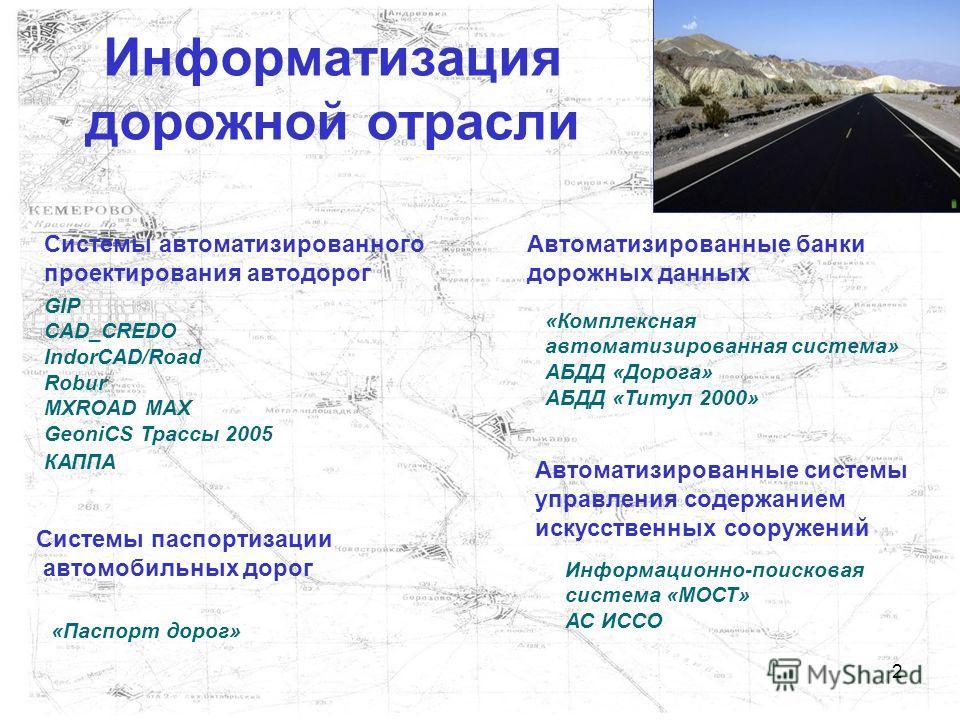 2 Информатизация дорожной отрасли Автоматизированные банки дорожных данных Автоматизированные системы управления содержанием искусственных сооружений Системы паспортизации автомобильных дорог Системы автоматизированного проектирования автодорог GIP C