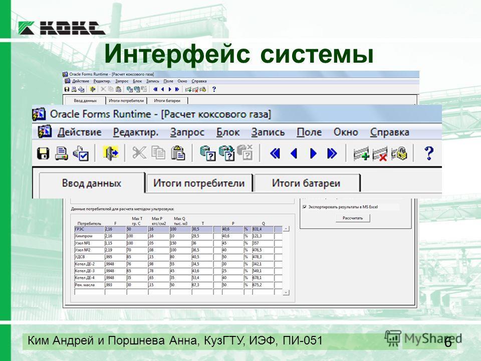 6 Ким Андрей и Поршнева Анна, КузГТУ, ИЭФ, ПИ-051 Интерфейс системы