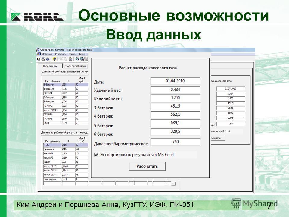 7 Ким Андрей и Поршнева Анна, КузГТУ, ИЭФ, ПИ-051 Основные возможности Ввод данных