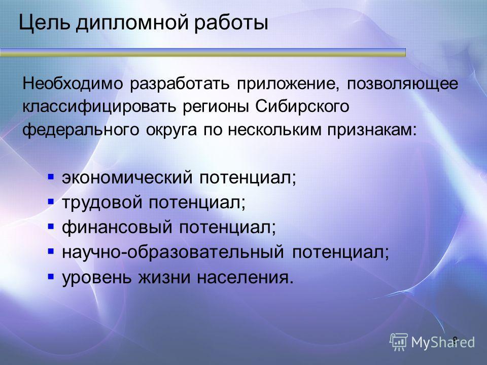 8 Цель дипломной работы Необходимо разработать приложение, позволяющее классифицировать регионы Сибирского федерального округа по нескольким признакам: экономический потенциал; трудовой потенциал; финансовый потенциал; научно-образовательный потенциа