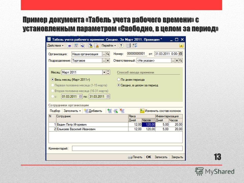 Пример документа «Табель учета рабочего времени» с установленным параметром «Свободно, в целом за период» 13