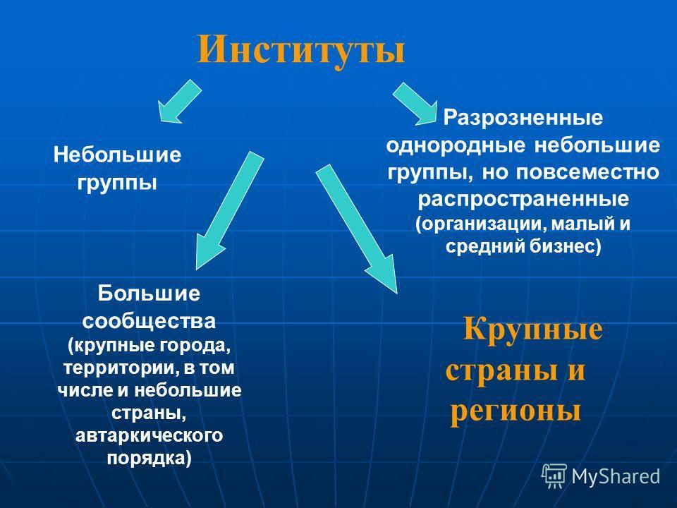 Крупные страны и регионы Институты Небольшие группы Разрозненные однородные небольшие группы, но повсеместно распространенные (организации, малый и средний бизнес) Большие сообщества (крупные города, территории, в том числе и небольшие страны, автарк
