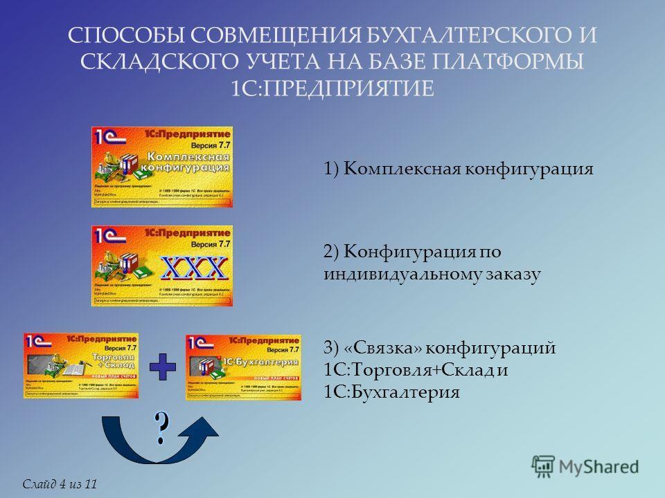 СПОСОБЫ СОВМЕЩЕНИЯ БУХГАЛТЕРСКОГО И СКЛАДСКОГО УЧЕТА НА БАЗЕ ПЛАТФОРМЫ 1С:ПРЕДПРИЯТИЕ 1) Комплексная конфигурация 2) Конфигурация по индивидуальному заказу 3) «Связка» конфигураций 1С:Торговля+Склад и 1С:Бухгалтерия Слайд 4 из 11