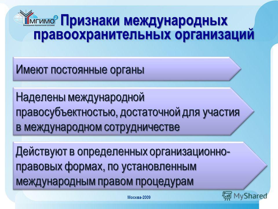 Москва-2009 Признаки международных правоохранительных организаций