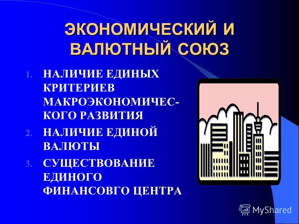 ЭКОНОМИЧЕСКИЙ И ВАЛЮТНЫЙ СОЮЗ 1. НАЛИЧИЕ ЕДИНЫХ КРИТЕРИЕВ МАКРОЭКОНОМИЧЕС- КОГО РАЗВИТИЯ 2. НАЛИЧИЕ ЕДИНОЙ ВАЛЮТЫ 3. СУЩЕСТВОВАНИЕ ЕДИНОГО ФИНАНСОВГО ЦЕНТРА