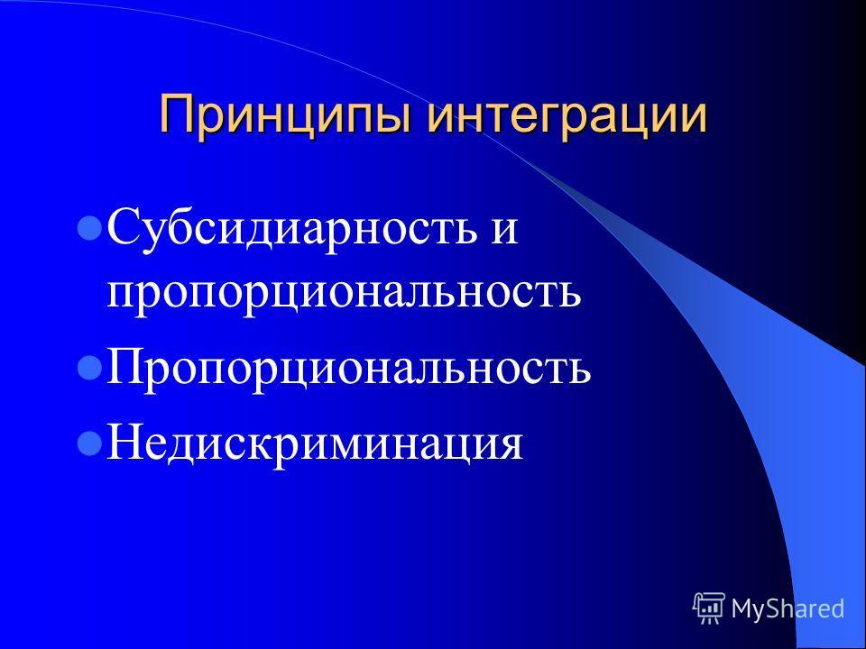 Принципы интеграции Субсидиарность и пропорциональность Пропорциональность Недискриминация