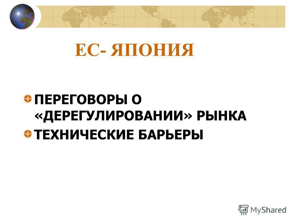 ЕС- ЯПОНИЯ ПЕРЕГОВОРЫ О «ДЕРЕГУЛИРОВАНИИ» РЫНКА ТЕХНИЧЕСКИЕ БАРЬЕРЫ