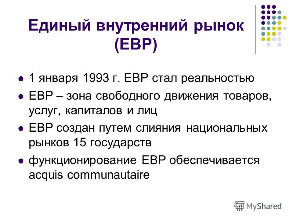 Единый внутренний рынок (ЕВР) 1 января 1993 г. ЕВР стал реальностью ЕВР – зона свободного движения товаров, услуг, капиталов и лиц ЕВР создан путем слияния национальных рынков 15 государств функционирование ЕВР обеспечивается acquis communautaire