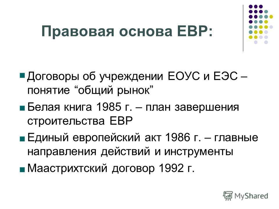 Правовая основа ЕВР: - Договоры об учреждении ЕОУС и ЕЭС – понятие общий рынок - Белая книга 1985 г. – план завершения строительства ЕВР - Единый европейский акт 1986 г. – главные направления действий и инструменты - Маастрихтский договор 1992 г.