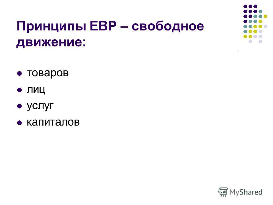 Принципы ЕВР – свободное движение: товаров лиц услуг капиталов