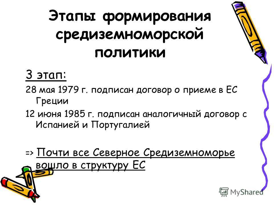 Этапы формирования средиземноморской политики 3 этап: 28 мая 1979 г. подписан договор о приеме в ЕС Греции 12 июня 1985 г. подписан аналогичный договор с Испанией и Португалией => Почти все Северное Средиземноморье вошло в структуру ЕС