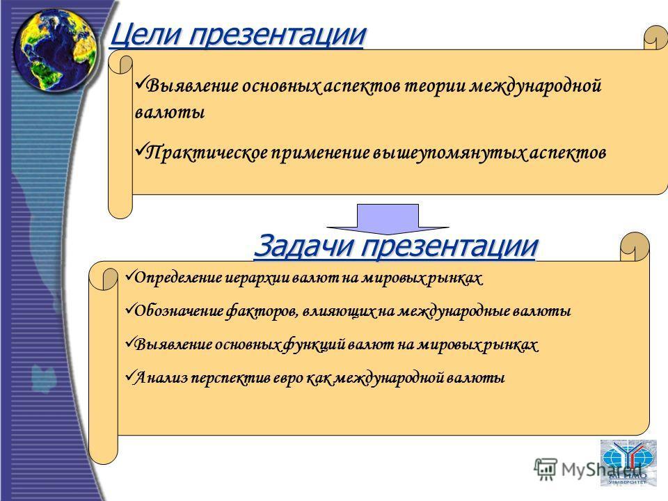 Цели презентации Выявление основных аспектов теории международной валюты Практическое применение вышеупомянутых аспектов Задачи презентации Определение иерархии валют на мировых рынках Обозначение факторов, влияющих на международные валюты Выявление