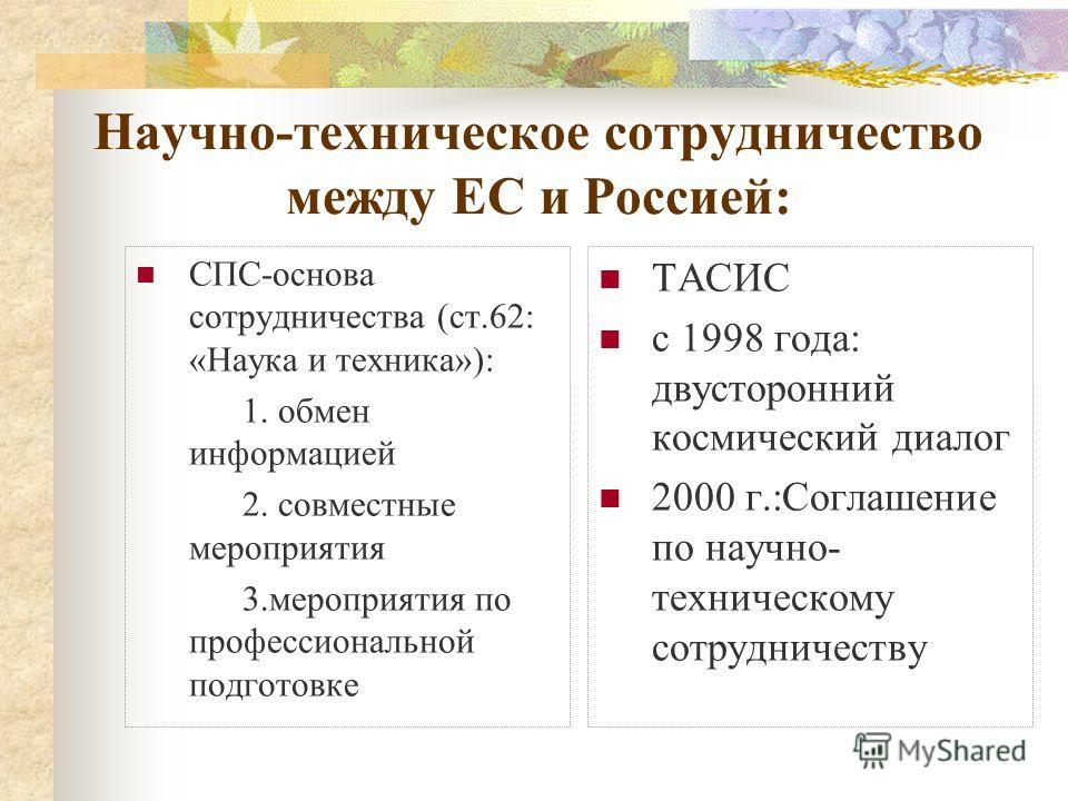 Научно-техническое сотрудничество между ЕС и Россией: СПС-основа сотрудничества (ст.62: «Наука и техника»): 1. обмен информацией 2. совместные мероприятия 3.мероприятия по профессиональной подготовке ТАСИС с 1998 года: двусторонний космический диалог