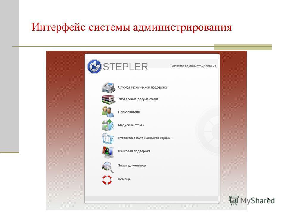 9 Интерфейс системы администрирования