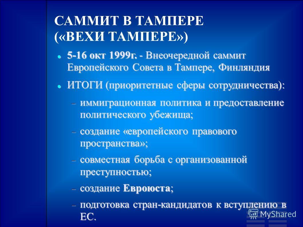 САММИТ В ТАМПЕРЕ («ВЕХИ ТАМПЕРЕ») 5-16 окт 1999г. - Внеочередной саммит Европейского Совета в Тампере, Финляндия 5-16 окт 1999г. - Внеочередной саммит Европейского Совета в Тампере, Финляндия ИТОГИ (приоритетные сферы сотрудничества): ИТОГИ (приорите