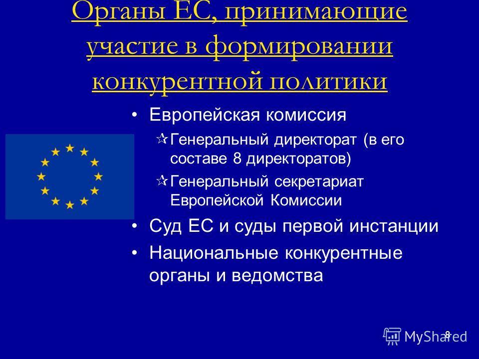 8 Органы ЕС, принимающие участие в формировании конкурентной политики Европейская комиссия Генеральный директорат (в его составе 8 директоратов) Генеральный секретариат Европейской Комиссии Суд ЕС и суды первой инстанции Национальные конкурентные орг