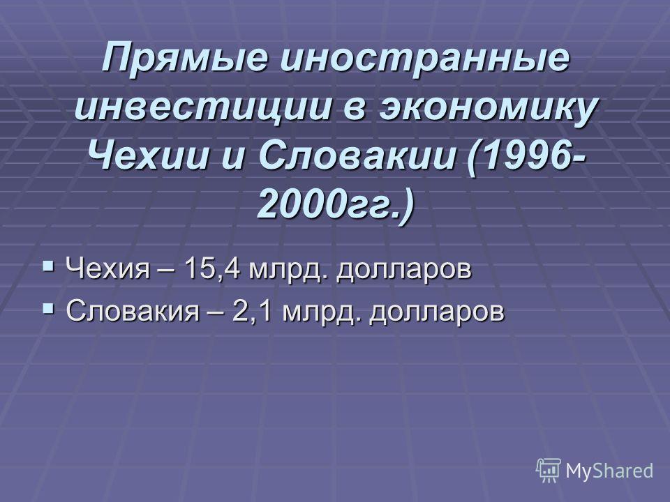 Прямые иностранные инвестиции в экономику Чехии и Словакии (1996- 2000гг.) Чехия – 15,4 млрд. долларов Чехия – 15,4 млрд. долларов Словакия – 2,1 млрд. долларов Словакия – 2,1 млрд. долларов