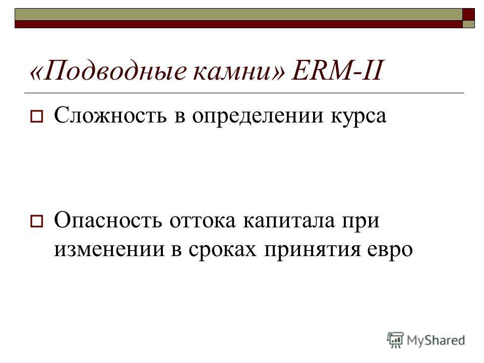 «Подводные камни» ERM-II Сложность в определении курса Опасность оттока капитала при изменении в сроках принятия евро